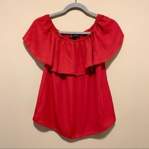 INC | Red Off the Shoulder Ruffle Blouse